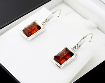Sterling Silver Earrings With Stone Sterling Silver Stone Earrings Classical Earrings Modern Earrings Rectangle Earrings Sterling Silver