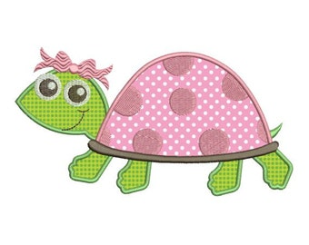 Applique Turtle Girl Embroidery Design 4x4 & 5x7 Instant Download Sale