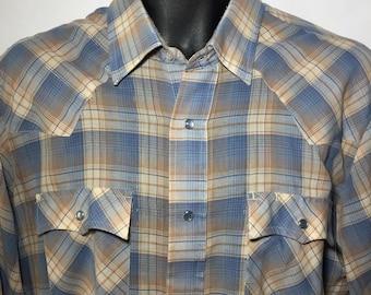 Vintage Levi's Western Shirt 70s Thin Pearl Snap Button Up - Blue Plaid - Cowboy Rockabilly Long Sleeve - Mens Size L