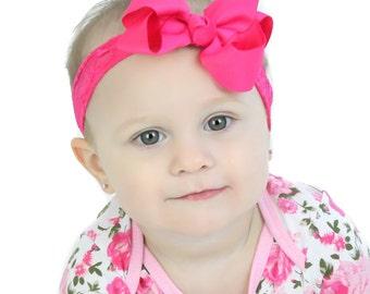 Baby Bow Lace Headband.Hot Pink Bow Hot Pink Headband.Baby Hair Bows.Baby Girl Headband.Baby Lace Headband.Infant Bow Headband.Lace Headband
