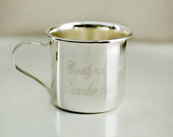 Silver Engraved Baby Sippy Cup, baby shower, memento, nursery, gift -gfyM11565107