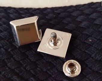 silver square rivet
