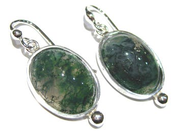 moss agate  earrings  silver 925%