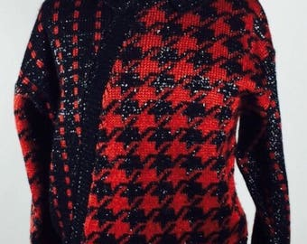 Vintage 80's metallic houndstooth knit sweater