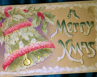1909 Embossed Flocked Christmas Bell Postcard