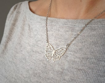 Silver or gold butterfly necklace