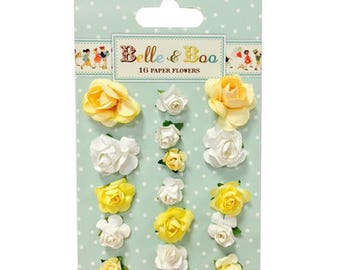LOT 16 yellow white SCRAP SCRAPBOOKING paper flowers card 2 and 3cm wedding BELLE & BOO