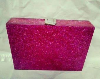 Gorgeous Hot Pink Glitter Clutch/Party Clutch/Evening Clutch