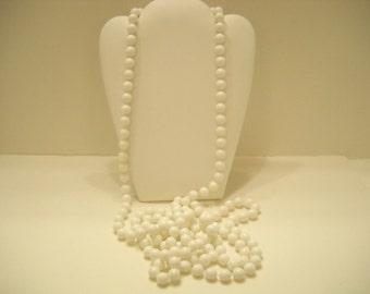 "Vintage 72"" White Plastic Beaded Necklace (2106)"