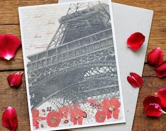 Eiffel Tower Greeting Card - Hand Drawn, Blank Card, Original Artwork Valentines Day Card, Paris Illustration, Eiffel Tower, Archival print