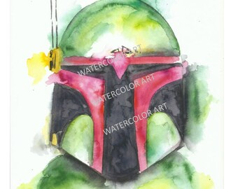 Star Wars Boba Fett Watercolor Print