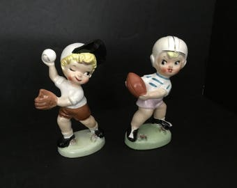 Vintage Boy Figurines with Spaghetti - Set of 2