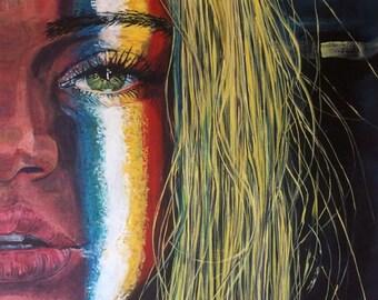 Erik Warn Sticker of an original painting. Portrait of a face