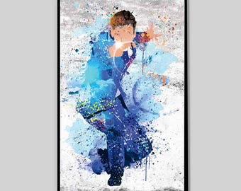 """CLEARANCE Dr.Who Print 11""""x17""""in, Tardis Art Watercolor, Tardis painting, Dr.who poster, doctor who tardis, police box art, tardis poster_55"""