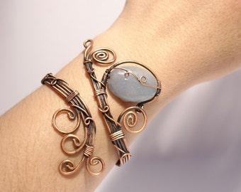 Aventurine Bracelet, Copper Bracelet, Wire Wrapped Copper Bracelet, Copper Bracelet, Copper Wire Jewelry