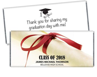 Set of 12 - Many Ribbon Color Choices - Diploma Scroll 2018 Graduation Favors - 2018 Personalized Graduation Candy Bar Wrappers