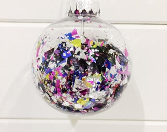 Confetti filled bauble Christmas decoration