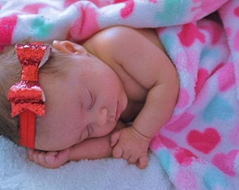 Red Glitter Headband. Baby Headband. Infant Headband. Valentines Day Hair Bow. Infant Hair Accessories. Red Baby Hair Bow
