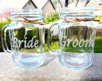 Bride Groom Mason Jar Mug Set