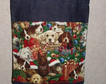 New Small Handmade Christmas Puppies Holiday Trim Denim Tote Bag Purse