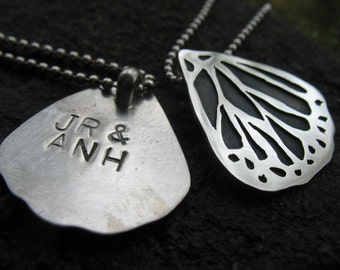A pair of Friendship Monarch Butterfly Wing Pendants