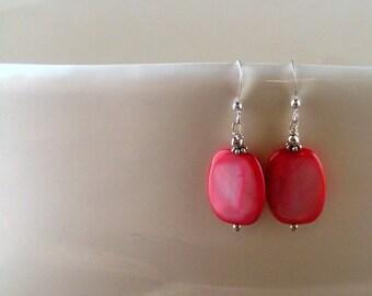 Fuschia Mother of Pearl Earrings SALE