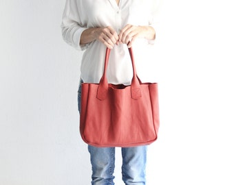Lily Tote BAG, nappa leather TOTE bag, red or black