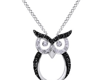 Jewel Zone US Black & White Natural Diamond Owl Pendant Necklace in 14k Gold Over Sterling Silver (0.25 Ct)