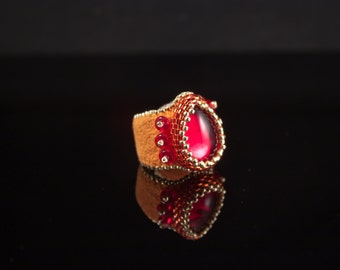 Ruby Crown Jewel Finger Cuff