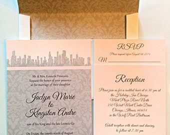 City Themed Wedding Invitations With Damask