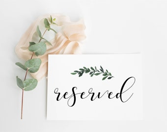 Botanical Design Reserved Signs- white or ivory for weddings, Parties etc - white or cream