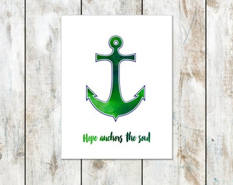 Green Watercolor - Hope Anchors the Soul Inspirational Notecard - Anchor Inspired Folded Card