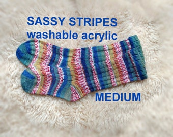 Sassy Stripes Crayon Knit Socks --- Imported Acrylic Yarn from Turkey --- NON-ALLERGENIC -- MEDIUM