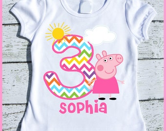 Custom Personalized Peppa Pig Birthday tee shirt