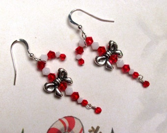 Candy Cane Earrings, Christmas Earrings, Holiday Earrings, Candy Earring, Peppermint Earrings, Swarovski Earrings, Christmas Jewelry