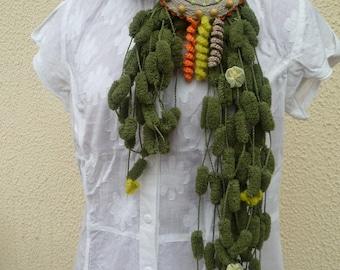Green tassel scarf