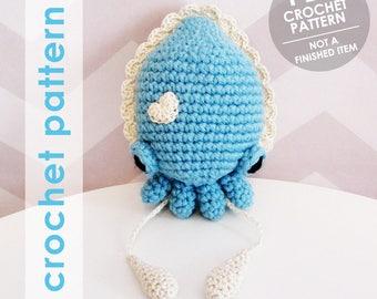 amigurumi crochet pattern, amigurumi, amigurumi pattern, cuttlefish amigurumi, stuffed animal, cuttlefish plushie, softie, sea creature
