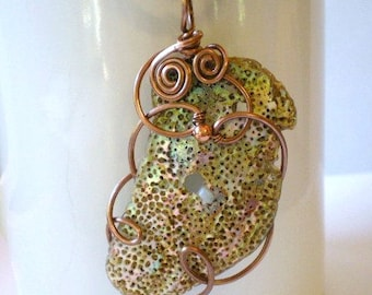 Necklace - Abalone Shell or Mother of Pearl Pendant Copper Wire Wrap Necklace Black Cotton Cord