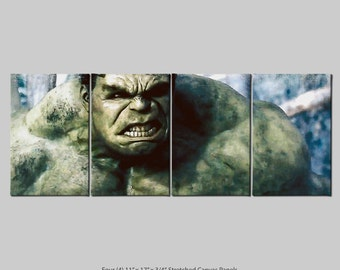 The Hulk 4 Panel Stretch Canvas nTych Print (Signed and Dated)