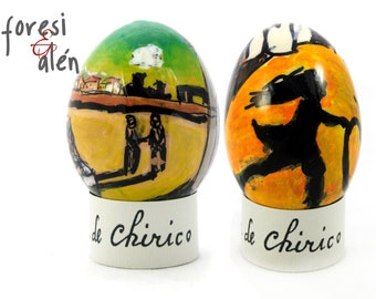 Giorgio di Chirico, Piazza d'Italia, Mystery and Melancholy of a Street, Easter egg gift, 0eufs dArt, Chicken Egg, Hand painted egg, Art egg