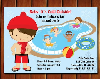 Indoor Pool Party Invitation, Winter Pool Party Birthday Invitation, Printable for Boys