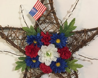 Fourth of July Star Grapevine Wreath