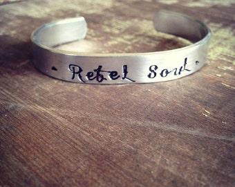 Rebel Soul Hand Stamped Cuff Bracelet