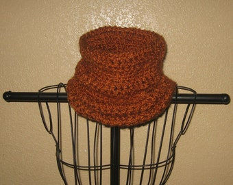 Exceptionally Soft And Warm Cinnamon Hued Crochet Neck Sweater