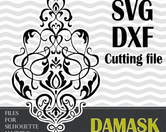 Damask designs, SVG,  DXF, vinyl cut files, for use with Silhouette Studio or other program.