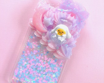 Kawaii egg half whip decoden glitter fall case for iPhone 6/6s