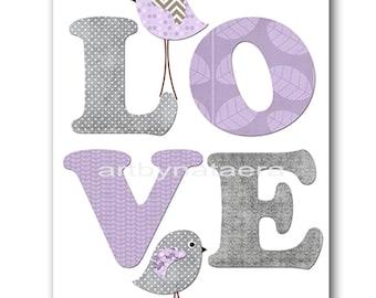 Love Nursery Art for Children Printable Digital Print Baby Girl Nursery Print Digital Download Print 8x10 11X14 INSTANT DOWNLOAD lavender