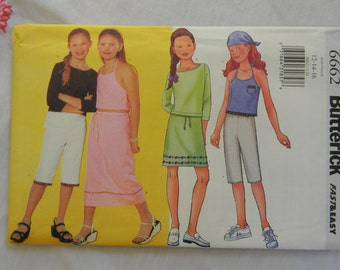 Butterick Girls Skirt, Top, Pants and Scarf Pattern #6662 Uncut, Multisized