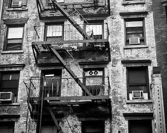Industrial NYC Photography urban city scene decor nyc flat studio apartment windows fire escape new york - Landing - fine art photograph