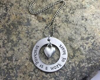 Teacher Hand Stamped Necklace- great teacher gift